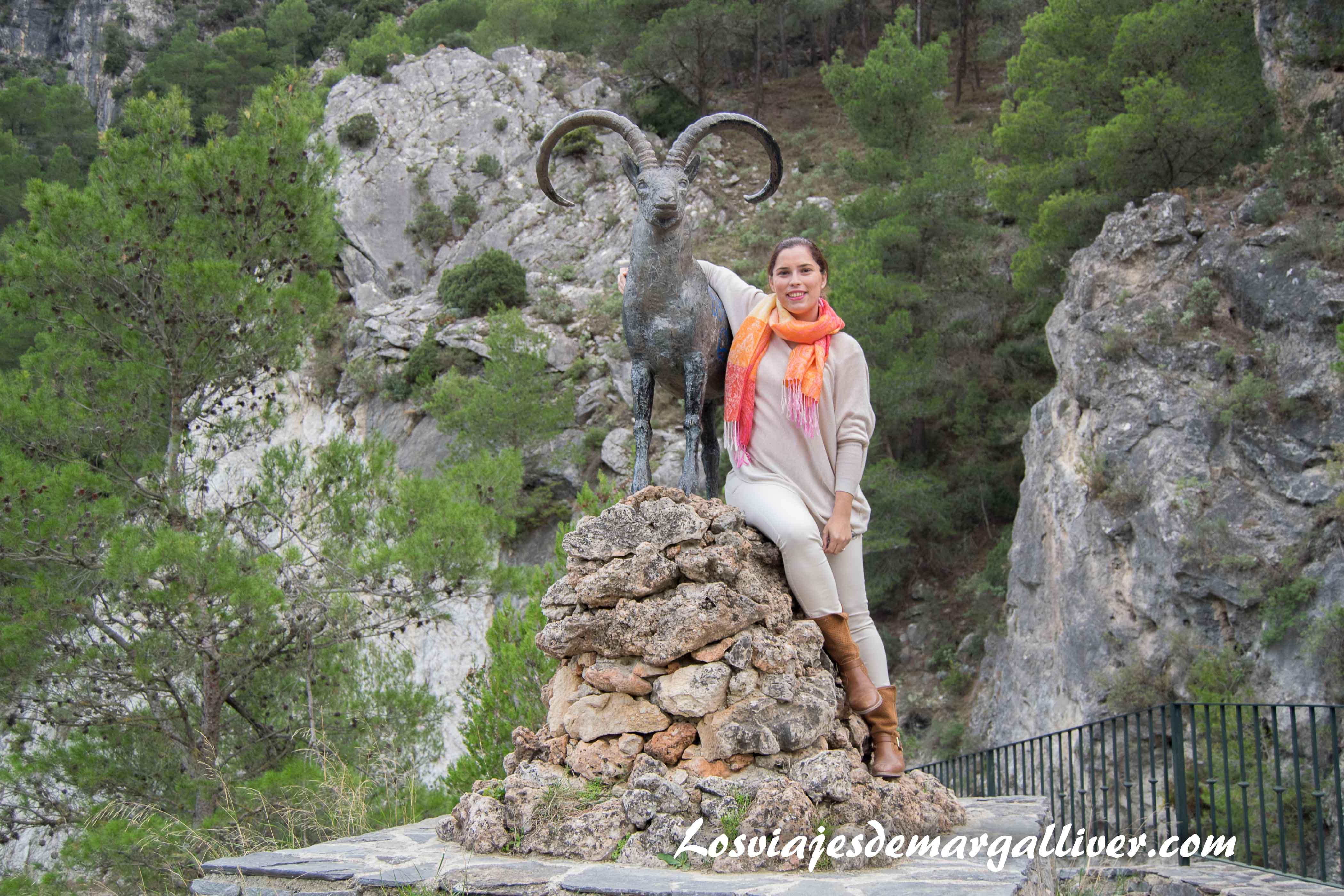 margalliver con la cabra del area recreativa del alcazar en Alcaucin - Los viajes de Margalliver
